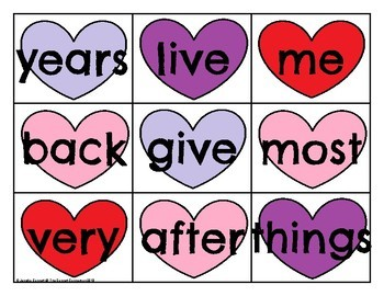 FRY 101-200 Sight Word Cards Valentine's Day