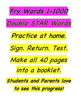 FRY  Sight High Frequency Words -1-1000 Double STAR Words Booklet