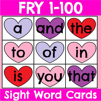FRY 1-300 Sight Word Cards for Valentine's Day Bundle