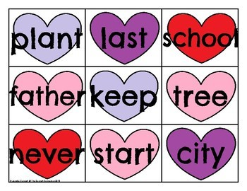 FRY 201-300 Sight Word Cards Valentine's Day