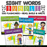 FRY 500 Sight Word Flashcards BUNDLE + Read, Build and Write Practice page.