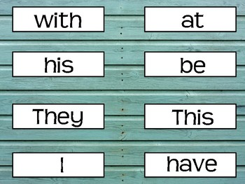 FRY FIRST 100 SIGHT WORD TURQUOISE SHIPLAP/RUSTIC/FARMHOUSE