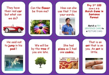 FRY - (First 100)   Words in Sentence Format-  MATCH GAME