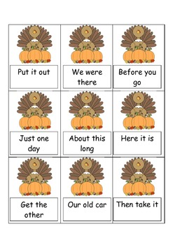 FRY Phrases words Thanksgiving