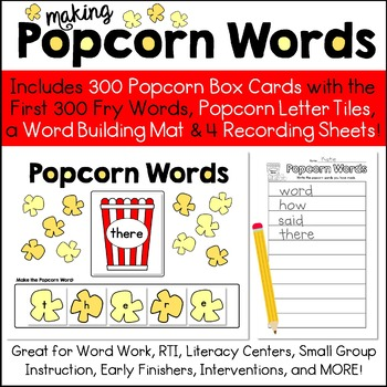 Fry Popcorn Words - Read & Build Sight Words - The First 300 Fry Words Included!
