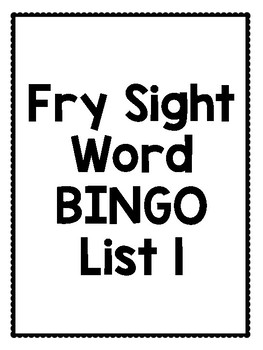 FRY Sight Word BINGO List 1