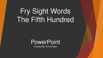 FRY Sight Word Power Point (Fifth One Hundred)