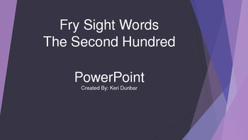 FRY Sight Word Power Point (Second One Hundred)