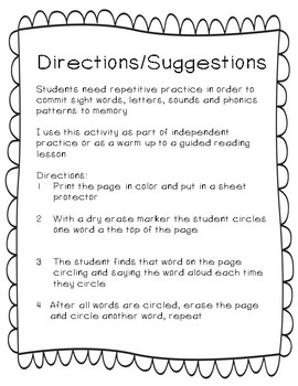 """FRY Sight Word Intervention 1st 100 """"Seek and Find"""" (Words 1-100)"""