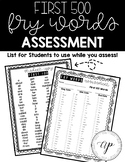 FRY WORD Assessments: First 500 Words