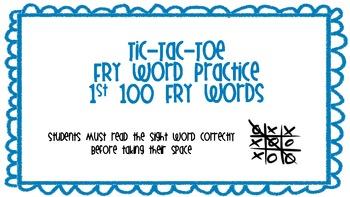 FRY WORD TIC-TAC-TOE