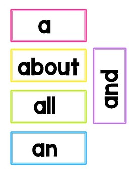 Fry Words, High Frequency Words, Sight Words 1-500 Word Wall Cards