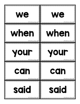 FRY Word Memory Match Game Including the First 100 FRY Words!