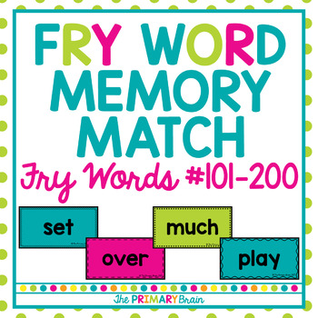 FRY Word Memory Match Game including the Second 100 FRY Words
