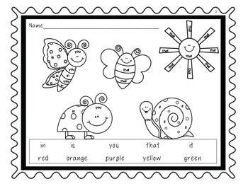 FRY Words 1-25 Coloring Pages