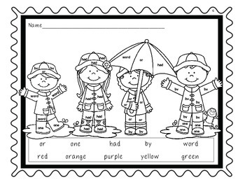 FRY Words 26-50 Coloring Pages