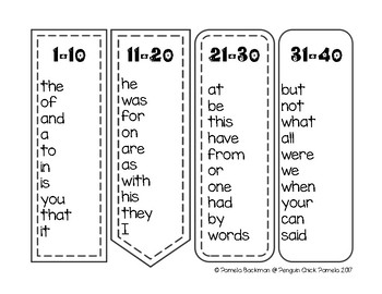 FRY Words FREEBIE Sight Word Bookmarks - First 300 Words | TpT