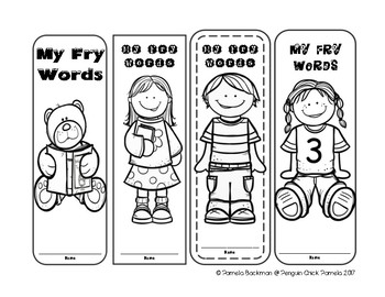FRY Words FREEBIE Sight Word Bookmarks -  First 300 Words