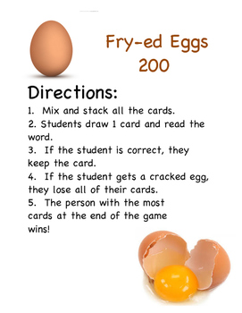 FRY-ed Eggs (Second Hundred Sight Words)
