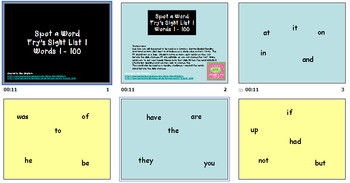 FRY's SIGHT WORD CHALLENGE 1 - 300 power point SMARTBOARD literacy center