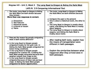 FSA - 3.9 Cross Text Comparisons Mcgraw Hill Wonders Unit 3, Week 5