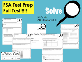 FSA Math Test Prep 3rd Grade FULL Test + Answer Key