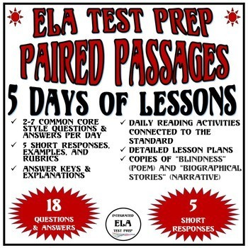 Common Core ELA Reading Test Prep 5 Days of Lessons: Paired Passages Poem/Narr