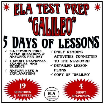 Common Core ELA Reading Test Prep 5 Days of Lessons: Galileo Informational Text