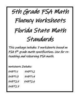 PDF FSA 5th Grade Math Fluency