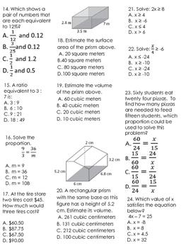 FSA 7th Math Basic Skills Practice