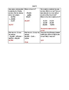 FSA Addition and Subtraction Differentiated Review