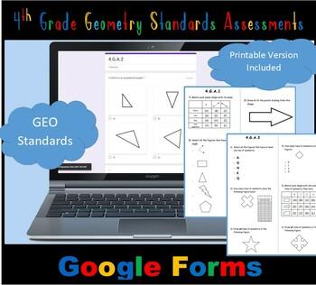 FSA/ Common Core Aligned 4th Grade Geometry Test Prep Practice 30 QUES