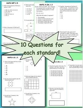 FSA / Common Core 260 TEST PREP QUES 4th Gr Math Bundle: ALL Standards