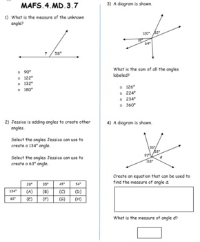 FSA / Common Core 4th Grade Measurement and Data (MD) Test Prep Packet 60 QUES