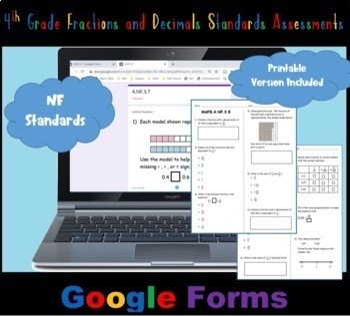 FSA / Common Core 4th Grade Fractions and Decimals (NF) Test Prep 70 QUES