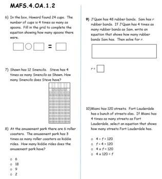 FSA / Common Core 4th Grade Oper & Algebraic Thinking (OA) Test Prep 50 QUES