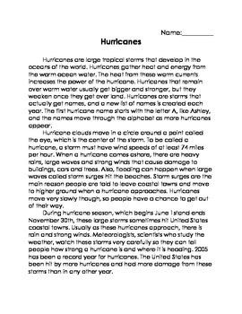 FSA Aligned Assessment - Hurricanes