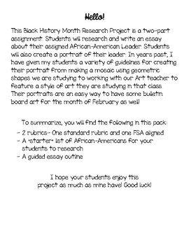 fsa aligned black history month project by teaching tomorrow today fsa aligned black history month project