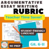 FSA Argument Writing Rubric - A 'Student-Friendly' Checklist