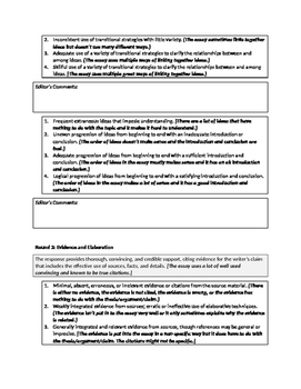 FSA Argumentative Essay Rubric Breakdown and Peer Revision Checklist