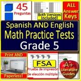 5th Grade FSA Bilingual Math: Test Prep Practice - English AND Spanish Version