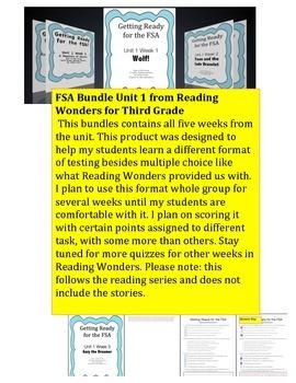 FSA Bundle - Reading Wonders - Third Grade - Unit 1