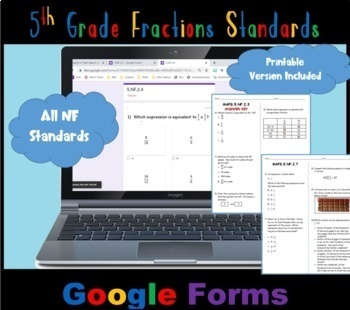 FSA / Common Core 5th Grade Fractions (NF) Test Prep 60 QUES