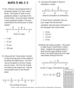 FSA / Common Core 5th Grade Measurement and Data (MD) Test Prep Packet 40 QUES