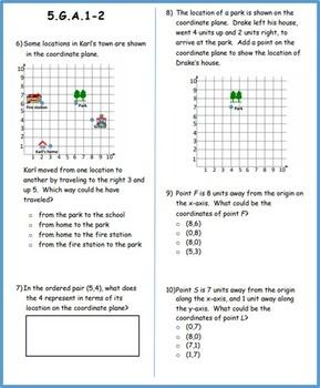 FSA/ Common Core Aligned 5th Grade GEO and OA Test Prep Practice 57 QUES
