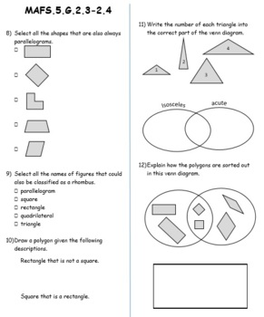FSA/ Common Core Aligned 5th Grade GEO and OA Test Prep Practice 57 QUES