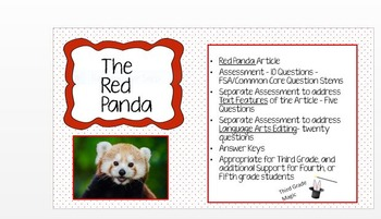 FSA & Common Core Article and Assessments, The Red Panda