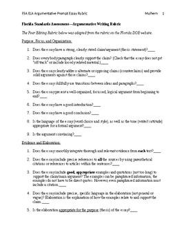 FSA ELA Argumentative Prompt Essay Rubric