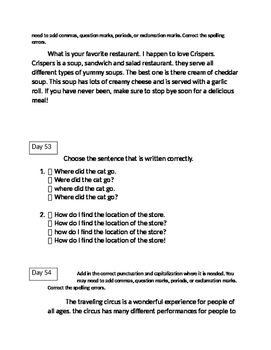FSA ELA Daily Grammar Editing Tasks Days 50-54