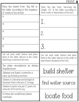 FSA ELA Task Cards: Drag and Drop/GRID Question Practice (Cut-n-Paste)